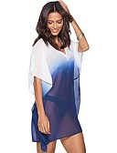 cheap Cover Ups-Women's Basic Plunging Neck Blue Fuchsia Skirt Cover-Up Swimwear - Color Block Blue & White One-Size Blue / Sexy
