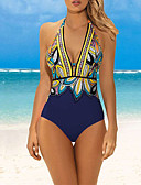 cheap One-piece swimsuits-Women's Basic Boho Plunging Neck Blue Green Pink Triangle Cheeky One-piece Swimwear - Geometric Color Block Print L XL XXL Blue / Super Sexy