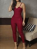 povoljno Ženski jednodijelni kostimi-Žene Dnevno Ulični šik S naramenicama Crn Plava Red Olovka Slim Jumpsuits, Jednobojni S M L Bez rukávů