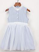 お買い得  女児 ドレス-幼児 女の子 活発的 日常 ストライプ ノースリーブ 膝丈 ポリエステル ドレス ライトブルー