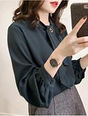 זול חולצות לנשים-חולצה בגודל של אישה אסיה - צוואר בצבע מלא בצבע