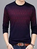 povoljno Muške majice i potkošulje-Majica s rukavima Muškarci Dnevno Pamuk / Lan Geometrijski oblici Okrugli izrez Slim Bijela / Dugih rukava