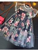 hesapli Elbiseler-Çocuklar Genç Kız Temel Çiçekli Kolsuz Elbise Koyu Mavi