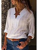 abordables Camisas para Mujer-Mujer Chic de Calle Tallas Grandes Algodón Camisa, Escote en Pico Un Color Rosa XXXL