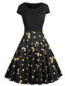 hesapli Vintage Kraliçesi-Kadın's Tatil Dışarı Çıkma Vintage Zarif Çan Elbise - Meyve, Kırk Yama Desen Diz-boyu Yüksek Bel Vişne