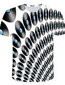 halpa Miesten t-paidat ja hihattomat paidat-Miesten Pyöreä kaula-aukko Painettu Color Block / 3D Perus / Katutyyli Klubi T-paita Valkoinen / Lyhythihainen