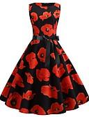 preiswerte Retro-Königin-Damen Street Schick Elegant Swing Kleid - Druck, Blumen Knielang