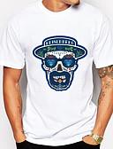 abordables Camisetas y Tops de Hombre-Hombre Estampado Camiseta, Escote Redondo Cráneos Blanco XL / Manga Corta
