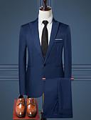 hesapli Erkek Gömlekleri-Erkek Çalışma Normal Suit, Solid Gömlek Yaka Uzun Kollu Polyester Şarap / Açık Mavi / Haki