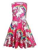 お買い得  女児 ドレス-子供 女の子 甘い お出かけ カートゥン ノースリーブ 膝丈 ポリエステル ドレス ルビーレッド