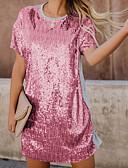 Χαμηλού Κόστους Φορέματα NYE-Γυναικεία Πάρτι Βασικό T Shirt Φόρεμα - Συνδυασμός Χρωμάτων Πάνω από το Γόνατο / Sexy