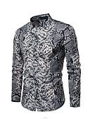 abordables Camisas de Hombre-Hombre Camisa Geométrico Gris L / Manga Larga