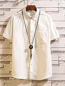 abordables Camisetas y Tops de Hombre-Hombre Algodón Camisa, Cuello Inglés Delgado Un Color