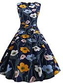 cheap Vintage Dresses-Women's Swing Dress Navy Blue L XL XXL