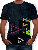 hesapli Erkek Tişörtleri ve Atletleri-Erkek Yuvarlak Yaka Tişört Desen, 3D Siyah