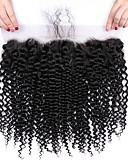 abordables Robes Grandes Tailles-1 Bundle Cheveux Brésiliens Kinky Curly Cheveux Vierges Naturel Accessoires pour Perruques Trame cheveux avec fermeture 8-20 pouce Couleur naturelle Tissages de cheveux humains Créatif Soulagement de