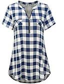 cheap Women-Women's Slim Shirt - Check Blue XL