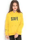 baratos Moletons Para Meninas-Infantil Para Meninas Moda de Rua Estampado Manga Longa Moleton & Blusa de Frio Amarelo