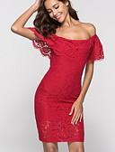 cheap Romantic Lace Dresses-Women's Basic Sheath Dress - Solid Colored Cut Out Black Red M L XL