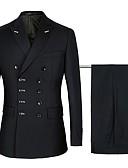 זול חליפות-נייבי / שחור אחיד גזרה רגילה כותנה / פוליסטר חליפה - סגור חזה כפול 6 כפתורים / חליפות