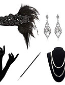 povoljno Stare svjetske nošnje-The Great Gatsby Čarlston 1920s Gatsby Povorka maski Setovi dodataka za kostime Žene Kostim Narukvica s perlama Igazgyöngy nyaklánc Crn Vintage Cosplay Party Halloween / Šeširi / Rukavice