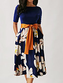 billige Kjoler med trykk-kvinners midi en linje kjole rød svart blå s m l xl