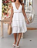 رخيصةأون فساتين للنساء-فستان نسائي متموج طول الركبة لون سادة منخفضة V رقبة