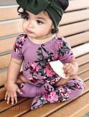 billige Sett med babyklær-Baby Jente Aktiv / Grunnleggende Ensfarget / Trykt mønster Trykt mønster Kort Erme Polyester Endelt Grønn
