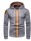 cheap Men's Hoodies & Sweatshirts-Men's Casual Hoodie - Color Block Black XL