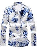 abordables Chemises Homme-Chemise Grandes Tailles Homme, Fleur - Coton Bleu XXXXL