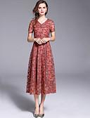 Χαμηλού Κόστους Γυναικεία Φορέματα-Γυναικεία Κομψό Swing Φόρεμα - Μονόχρωμο Λεοπάρ, Δαντέλα Μακρύ