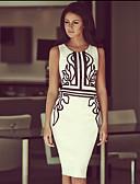 abordables Robes de Travail-Femme Elégant Midi Gaine Robe - Imprimé, Géométrique Blanc Rouge Jaune L XL XXL Sans Manches
