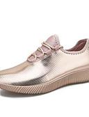 billige Kjoler-Dame Elastisk stof Forår sommer Afslappet Sneakers Flade hæle Rund Tå Paillette Guld / Sort / Sølv