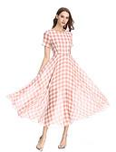 levne Print Dresses-Dámské Vintage Cikánský Swing Šaty - Geometrický, Tisk Maxi