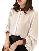 preiswerte Damen Röcke-Damen Einfarbig Übergrössen Bluse, Hemdkragen Schlank Patchwork Blau XXL