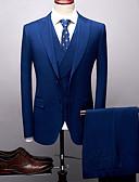 povoljno Odijela-Deep Blue Jednobojni Kroj po mjeri Poliester Odijelo - Šiljasti Droit 2 boutons / odijela