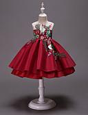 זול שמלות לילדות פרחים-נסיכה מעל הברך שמלה לנערת הפרחים  - סאטן / טול ללא שרוולים עם תכשיטים עם פפיון(ים) / ריקמה / שחבור על ידי LAN TING Express