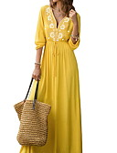 cheap Print Dresses-Fashion Lace Dresses Women's Holiday Going out Beach Basic Sexy Maxi Slim Tunic Swing Abaya Dress - Solid Colored Print V Neck Yellow M L XL