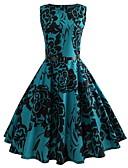economico Vestiti vintage-Per donna Vintage Essenziale Taglia piccola Linea A Swing Vestito - Con stampe, Fantasia floreale Al ginocchio