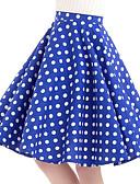 povoljno Vintage kraljica-Žene Ljuljačka Vintage Pamuk Suknje - Na točkice Plava L XL XXL