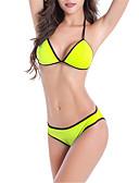 olcso Bikinis-Női Alap Bíbor Sárga Fukszia Merész Tankini Fürdőruha - Egyszínű Nyitott hátú M L XL Bíbor