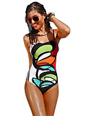 cheap One-piece swimsuits-Women's Boho Rainbow Bandeau Briefs One-piece Swimwear - Geometric Backless M L XL Rainbow
