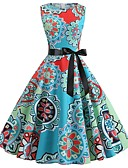 cheap Vintage Dresses-Women's Vintage Swing Dress - Geometric Print Light Blue L XL XXL