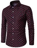 levne Pánské košile-Pánské - Geometrický Košile Štíhlý Vodní modrá XXL