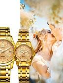 baratos Relógios de Casal-Casal Relógio Elegante Quartzo Coincidindo Ele e ela Aço Inoxidável Dourada 30 m Impermeável Calendário Novo Design Analógico Vintage Fashion - Branco Preto Ouro Rose