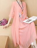 abordables Vestidos Maxi-Mujer Delgado Camiseta Corte Swing Camisa Vestido - Bordado Maxi