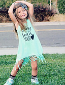 abordables Jupes pour Bébés-bébé Fille Actif / Basique Géométrique / Imprimé Franges / Imprimé Sans Manches Midi Coton Robe Bleu clair / Bébé