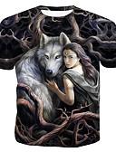 levne Pánské košile-Pánské - Zvíře / Portrét Tričko, Tisk Bavlna Kulatý Duhová US38