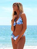 billiga Bikinis-Dam Grundläggande Blå Gul Ljusblå Bandeau / Båtringad Kaxig Bikini Badkläder - Enfärgad Öppen rygg M L XL Blå