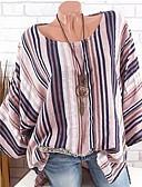 billige Dame Trench Coats-Løstsittende Store størrelser T-skjorte Dame - Stripet Rød